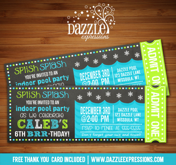 Winter Pool Party Chalkboard Ticket Invitation 2 - FREE thank you card includedr