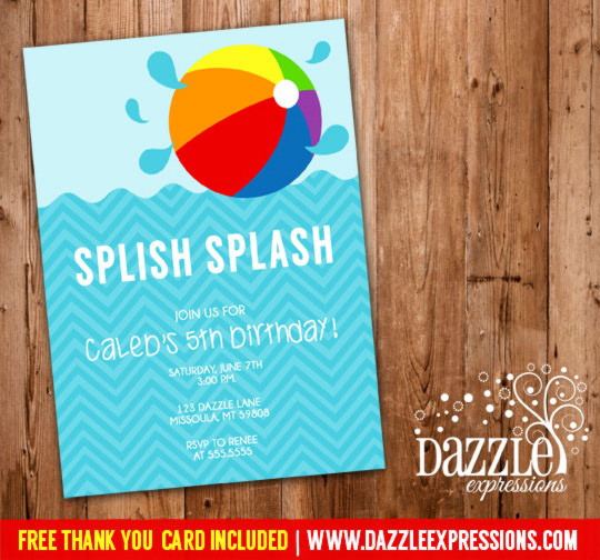 Pool Party Invitation 3 - FREE thank you card included