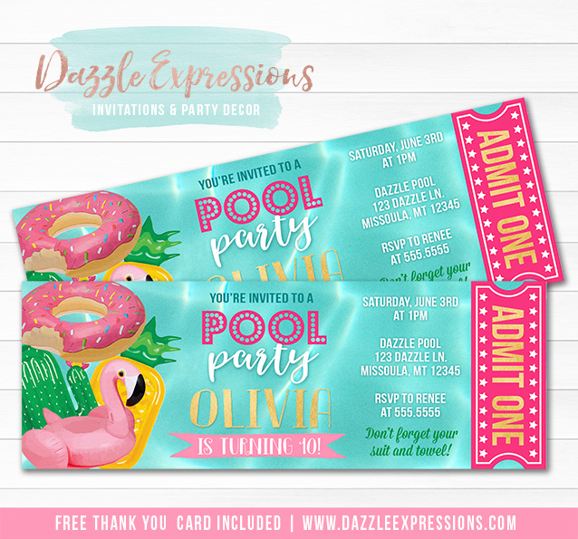 Pool Float Ticket Invitation - FREE thank you card included