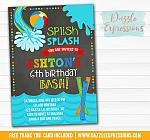 Pool Party Chalkboard Invitation 2 - FREE thank you card