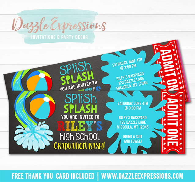 Printable Pool Party Chalkboard Ticket Graduation Invitation