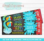 Pool Party  Ticket Graduation Invitation - FREE thank you card