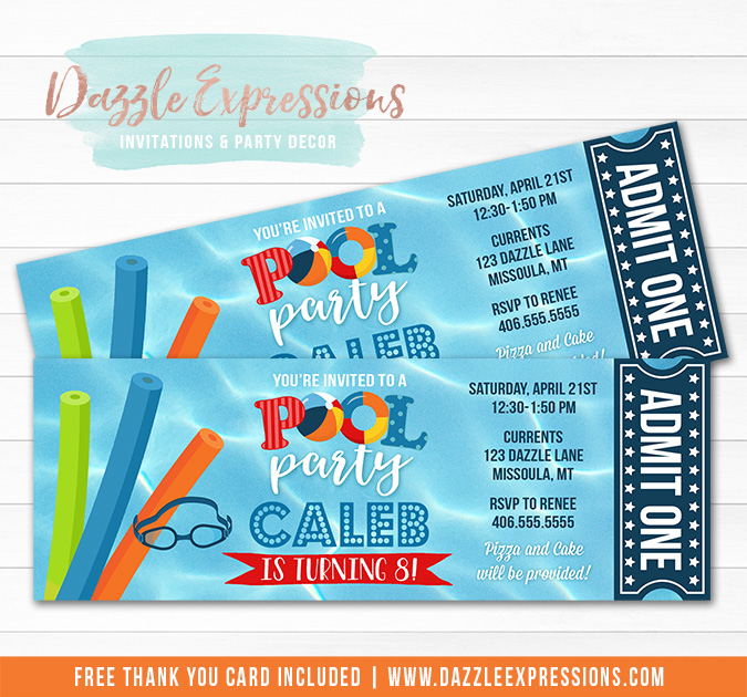 Pool Party Ticket Invitation 13 - FREE thank you card