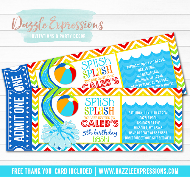 Pool Party Ticket Invitation 1   FREE Thank You Card Included On Party Ticket Invitations