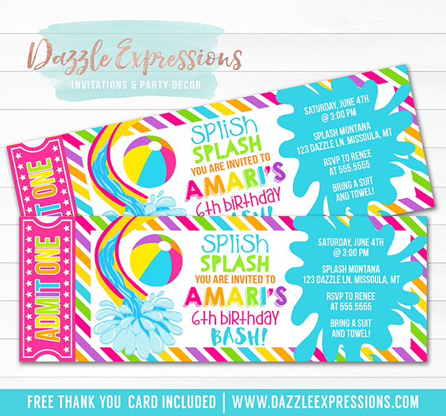Pool Party Ticket Invitation 11 - FREE Thank You Card Included