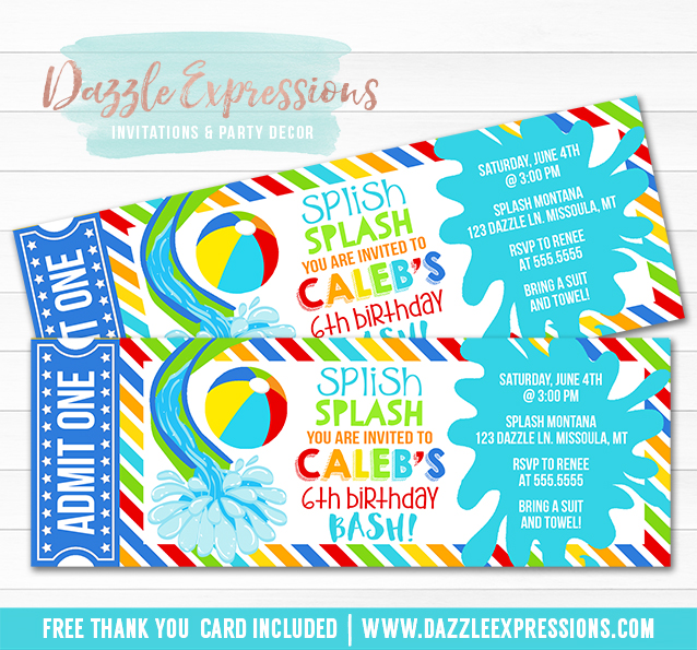 Pool Party Ticket Invitation 12