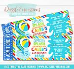 Pool Party Ticket Invitation 12 - FREE Thank You Card Included