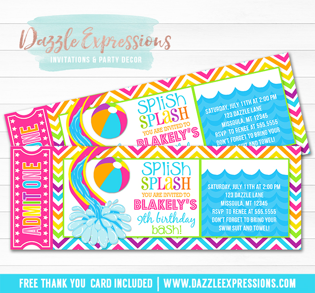 Pool Party Ticket Invitation 2 - FREE thank you card included