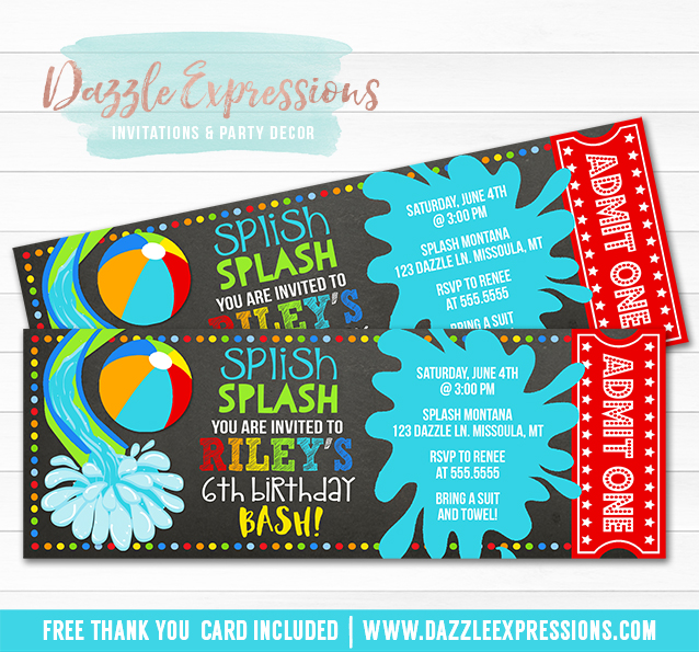 Printable Pool Party Chalkboard Ticket Birthday Invitation Beach – Invitation Pool Party