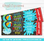 Pool Party Ticket Invitation 3 - FREE thank you card included