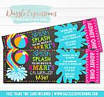 Pool Party Ticket Invitation 4 - FREE thank you card included