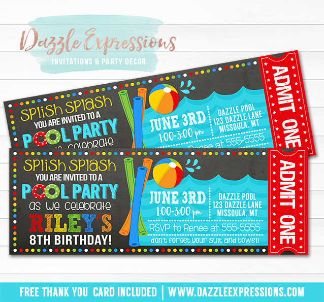 Pool Party Ticket Invitation 5 - FREE thank you card included