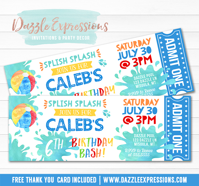 Printable Watercolor Pool Party Ticket Birthday Invitation