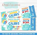 Pool Party Ticket Invitation 8 - FREE thank you card included
