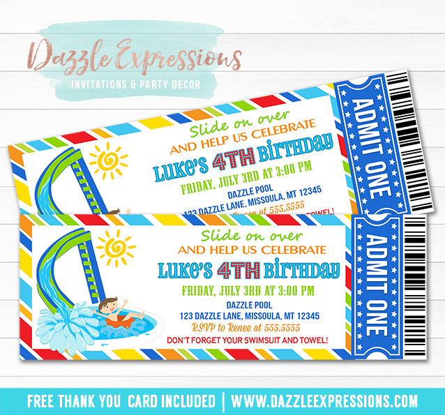 Pool Party Ticket Invitation 9 - FREE thank you card included