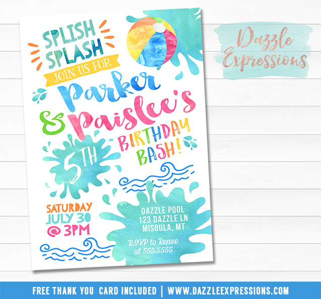 Pool Party Watercolor Invitation 5