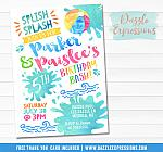 Pool Party Watercolor Invitation 5 - FREE thank you card included