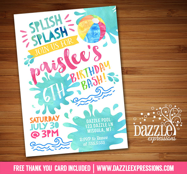 Printable Watercolor Pool Party Birthday Invitation Splish – Free Printable Pool Party Birthday Invitations