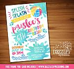 Pool Party Watercolor Invitation 1 - FREE thank you card included