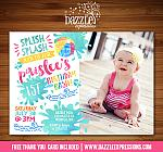 Pool Party Watercolor Invitation 2 - FREE thank you card included