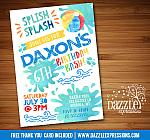Pool Party Watercolor Invitation 3 - FREE thank you card included