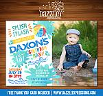 Pool Party Watercolor Invitation 4 - FREE thank you card included