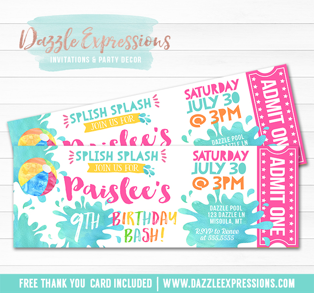 Printable Pool Party Watercolor Ticket Birthday Invitation Girl – Free Printable Pool Party Birthday Invitations