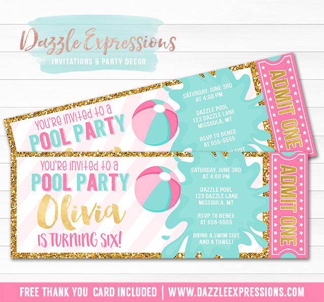 printable pink and gold pool party ticket birthday invitation