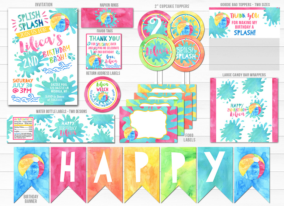 Pool Girl Watercolor Complete Party Package - Printable