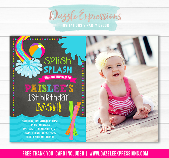 Printable Girl Pool Party Chalkboard Birthday Invitation