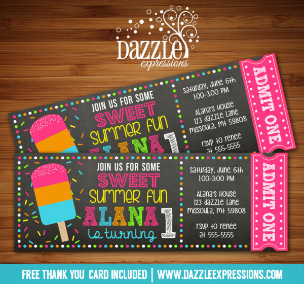 Popsicle Chalkboard Ticket Birthday Invitation - FREE thank you card