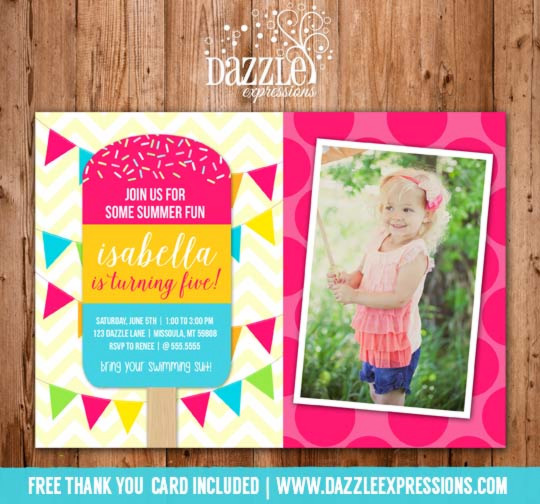 Popsicle Birthday Invitation 2 - FREE thank you card