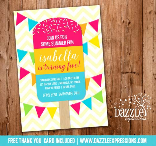 Popsicle Birthday Invitation 1 - FREE thank you card
