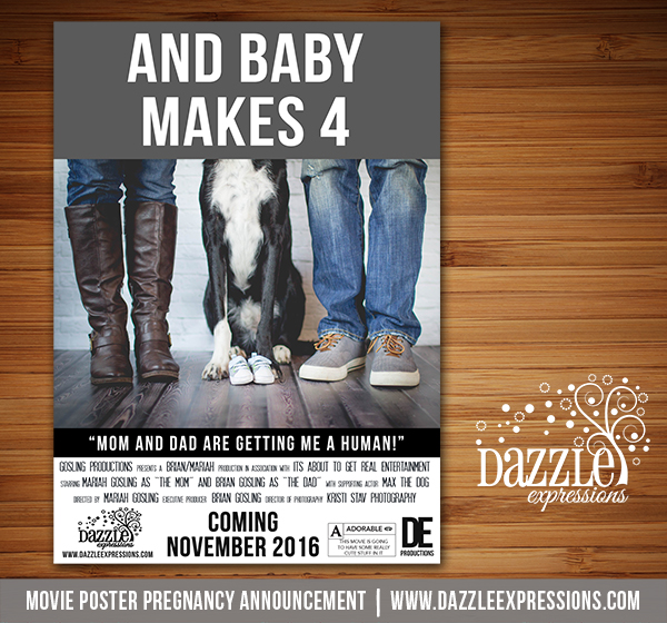 Pet Movie Poster Pregnancy Announcement - Printable