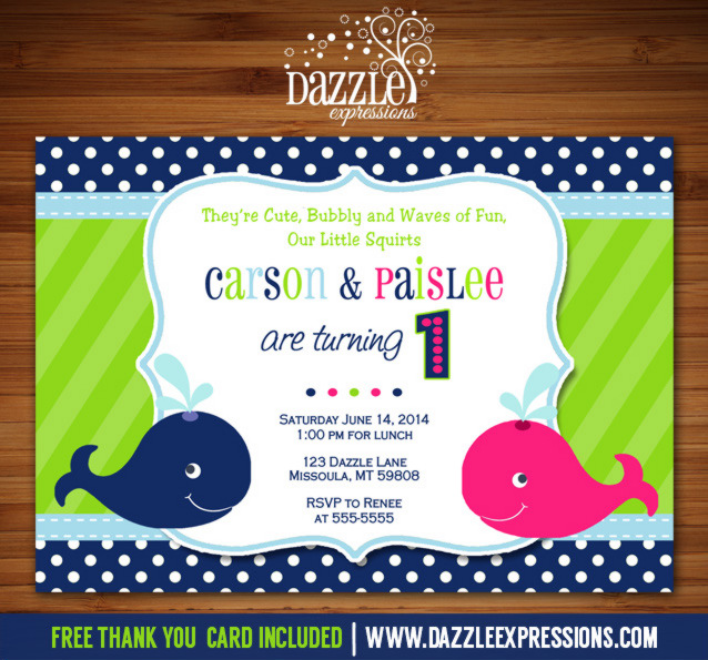 Preppy Whale Twin Birthday Invitation - FREE thank you card included
