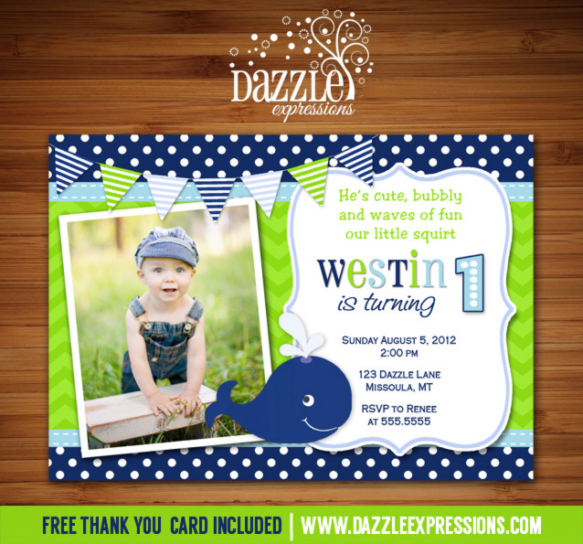 Preppy Whale Birthday Invitation 3 - Thank You Card Included