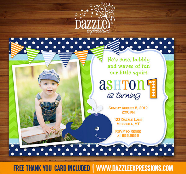 Preppy Whale Birthday Invitation 4 - FREE thank you card included