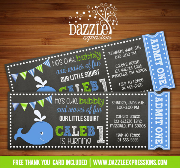 Preppy Whale Chalkboard Ticket Birthday Invitation - FREE thank you card