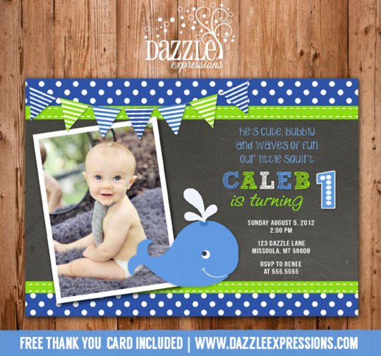 Preppy Whale Chalkboard Birthday Invitation - FREE thank you card included
