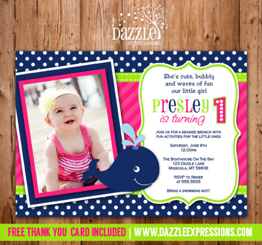 Preppy Whale Girl Birthday Invitation - FREE thank you card