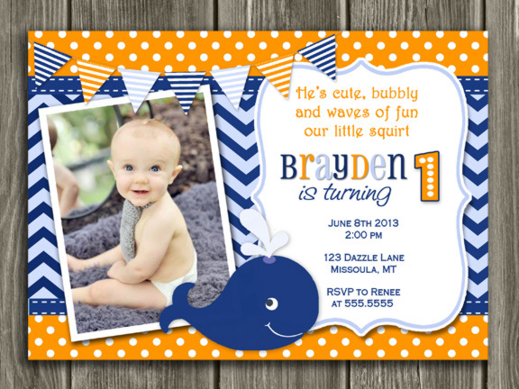 Preppy Whale Birthday Invitation 2 - Thank You Card Included