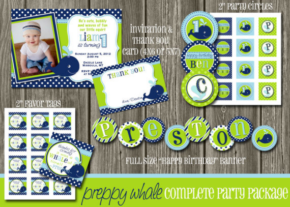 Preppy Whale Complete Party Package - Printable