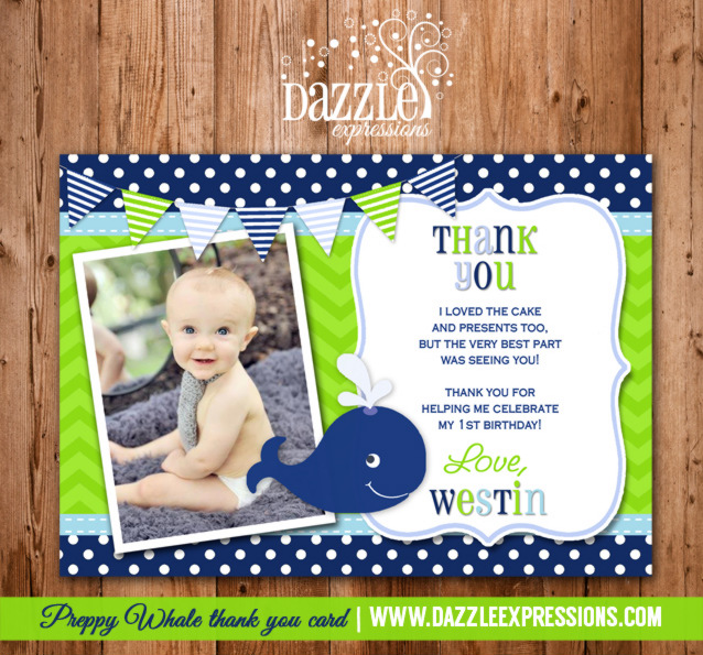 Preppy Whale Photo Thank You Card - Printable
