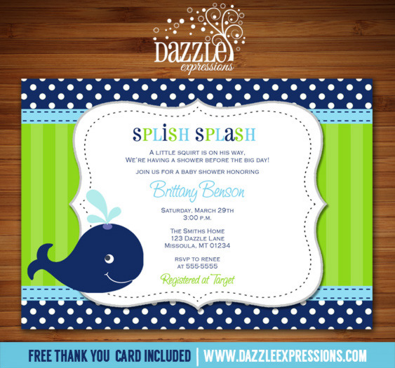 Preppy Whale Baby Shower Invitation - Thank You Card Included