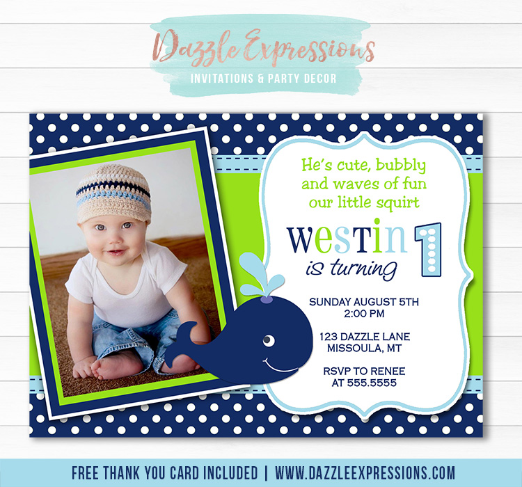 Preppy Whale Birthday Invitation 1 - Thank You Card Included