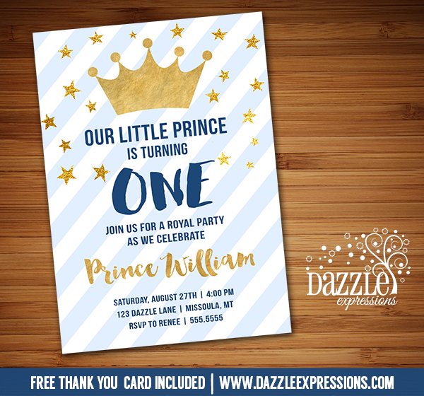 Printable blue and gold little prince birthday invitation royal prince invitation 1 free thank you card filmwisefo