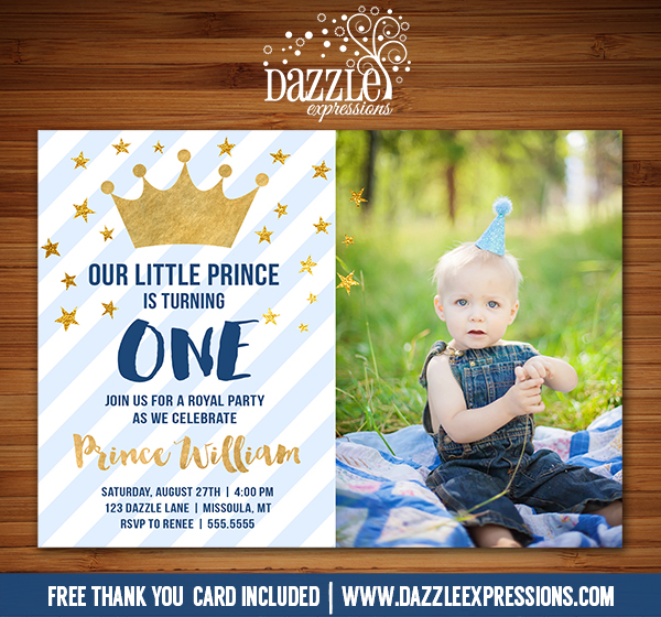Printable Blue And Gold Little Prince Birthday Invitation Royal First