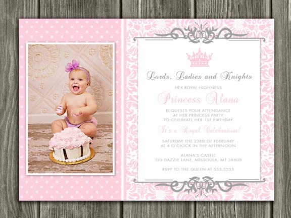 Printable Princess Birthday Invitation Girls 1st Birthday Party – First Birthday Thank You Cards