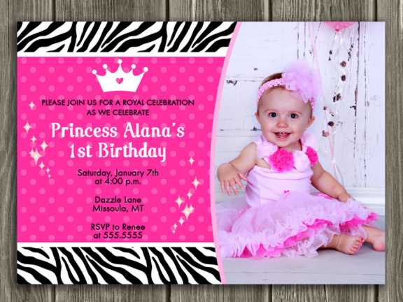 Printable Princess Birthday Invitation Girls 1st Birthday Party – 1st Birthday Princess Invitation