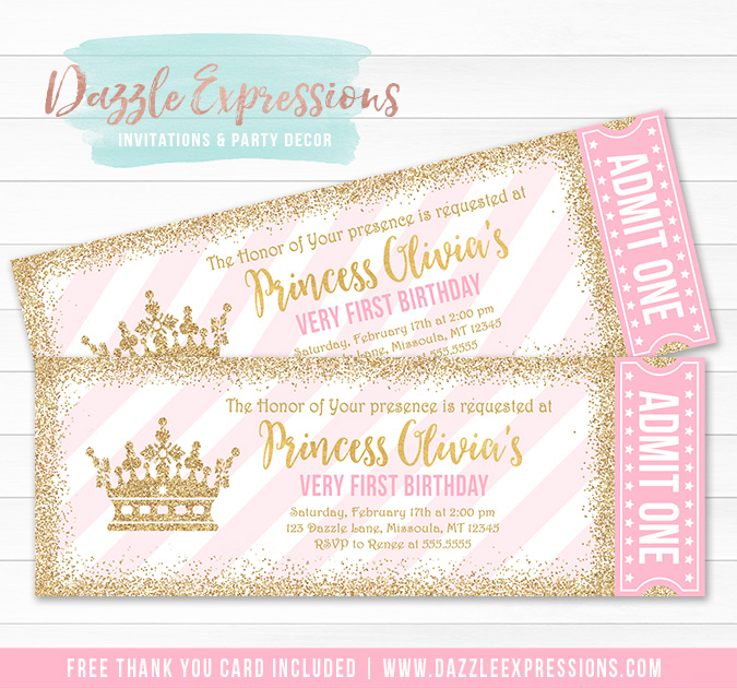 Princess Glitter Ticket Invitation 2 - FREE thank you card